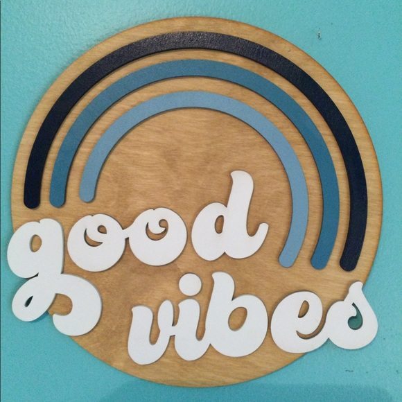 Handcrafted Wood Good Vibes Groovy Retro Sign